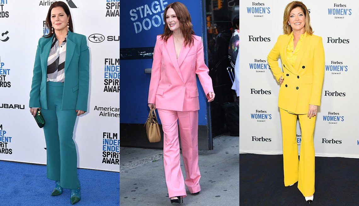 item 3, Gallery image. Marcia Gay Harden in teal blue pantsuit, print blouse; Julianne Moore in pink pantsuit; Norah O'Donnell in yellow pantsuit