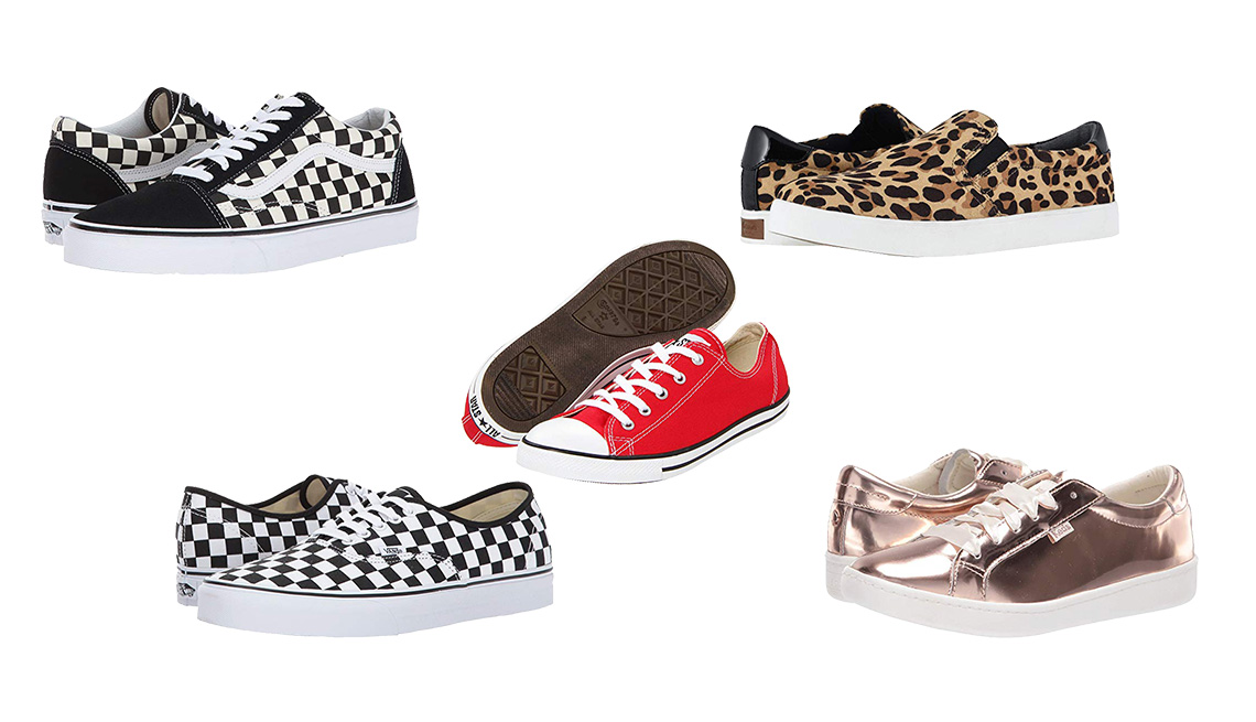 item 5, Gallery image. (L to r) Vans Old Skool in Primary Check Black/ White checks; Vans Authentic in Checkerboard Black/True White; Converse Chuck Taylor All Star Dainty Ox in Varsity Red red laceups; Dr. Scholl's Madison leopard slip-ons; Keds x Kate Spade New York Acein Ros