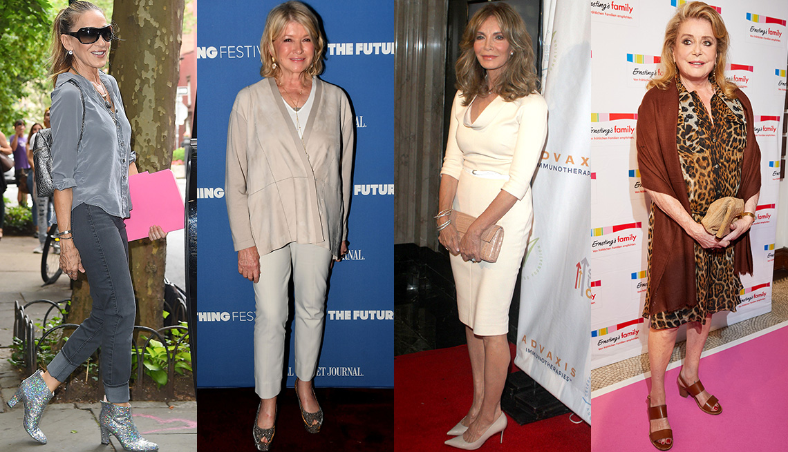 item 6 of Gallery image - Sarah Jessica Parker con blusa gris de seda, jeans grises y botines plateados metálicos; Martha Stewart; Jaclyn Smith; Catherine Deneuve