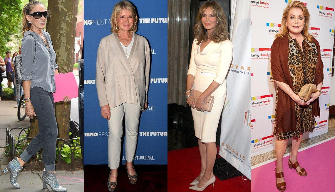 item 6, Gallery image. Sarah Jessica Parker con blusa gris de seda, jeans grises y botines plateados metálicos; Martha Stewart; Jaclyn Smith; Catherine Deneuve