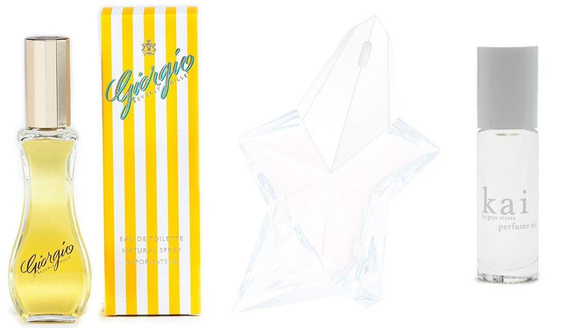 Perfume Giorgio Beverly Hills para mujer; Thierry Mugler Angel Eau de Toilette; Kai Perfume Oil.