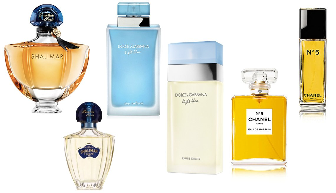 item 4, Gallery image. (izq. a der.) Shalimar Eau de Parfum ($80, ulta.com); Shalimar Eau de Cologne Natural Spray ($55, cvs.com); Dolce & Gabbana Light Blue Eau De Parfum Intense ($86, ulta.com); Dolce & Gabbana Light Blue Eau de Toilette ($80, ulta.com); Chanel No. 5 Eau de Parfum ($105, sephora.com); Chanel No. 5 Eau de Toilette ($85, sephora.com).