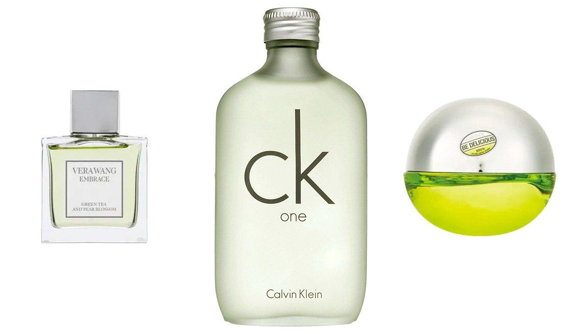 item 5, Gallery image. Vera Wang Embrace Green Tea & Pear Blossom Eau de Toilette; Calvin Klein ck one Eau de Toilette; DKNY Be Delicious Eau de Parfum.