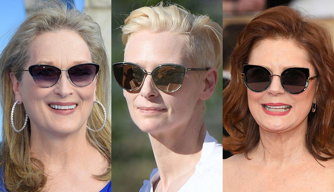 item 4, Gallery image. Meryl Streep in sunglasses, pinky nude lips, sparkly hoops; Tilda Swinton in cat eye sunglasses; Susan Sarandon in big cat-eye sunglasses, red lips
