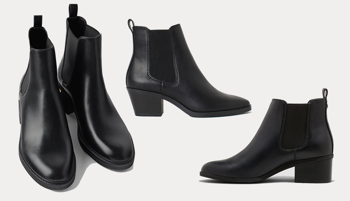 item 2 of Gallery image - (izq. a dcha.): Low-Heeled Ankle Boots with Trim at Heel de Zara, Ankle Boots de H & M, Ellie Chelsea Bootie de A New Day.