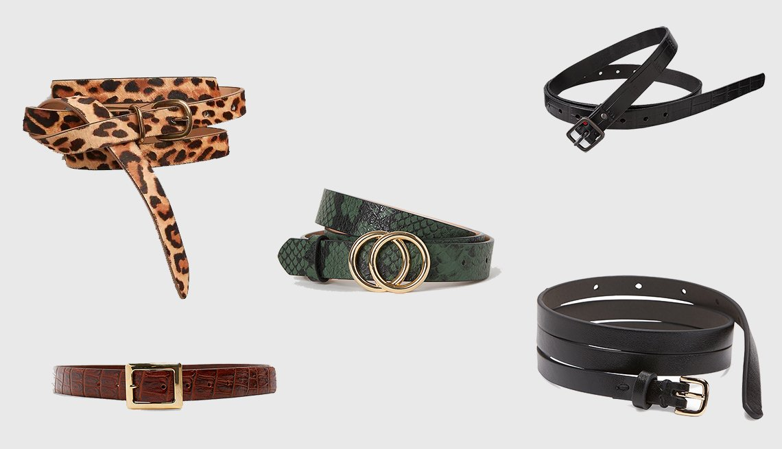 (clockwise): Gap Thin Belt in Leopard Print,  Uniqlo Women Emboss Skinny Belt by Ines de la Fressange, Skinny Faux-Leather Belt for Women, Embossed leather belt in Brandy, H & M Narrow Belt in dark green (center)