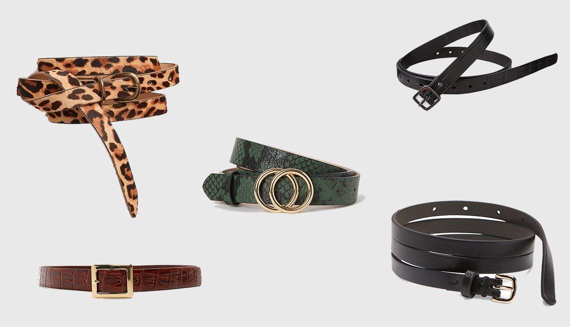 item 5, Gallery image. (clockwise): Gap Thin Belt in Leopard Print,  Uniqlo Women Emboss Skinny Belt by Ines de la Fressange, Skinny Faux-Leather Belt for Women, Embossed leather belt in Brandy, H & M Narrow Belt in dark green (center)