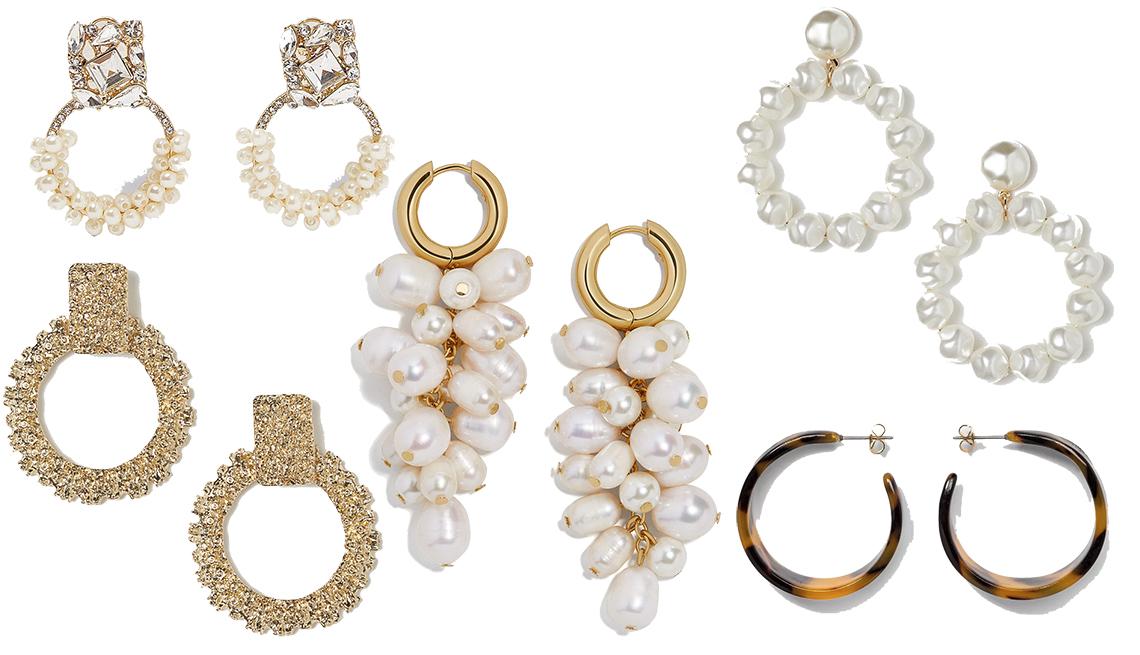item 8 of Gallery image - (en sentido horario desde la esquina inferior izquierda): Hoop Earrings de H&M, Sparkly Pearl Earrings de Zara, Earrings with Beads de H & M, Wide Tortoise Hoop Earrings de A New Day, Atlantic Pearl Drop Earrings de BaubleBar (centro).