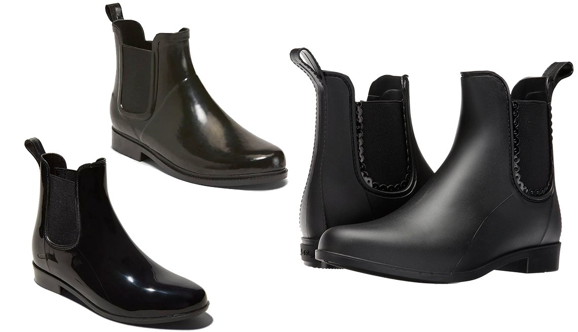item 11, Gallery image. (Clockwise): A New Day Women's Chelsea Rain Boots, Old Navy Ankle Rain Boots  for Women in Black, Jack Rogers Sallie