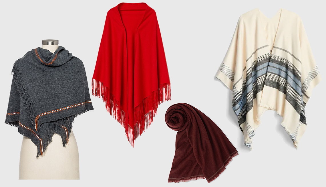 item 4 of Gallery image - (l to r): Universal Thread Women's Striped Square Scarf,Triangluar Wool Scarf, Gap Cape Scarf, Uniqlo Women Cashmere Big Stole by Ines de la Fressange