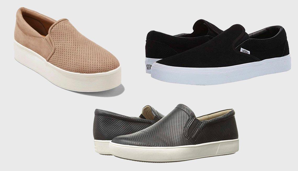 item 11, Gallery image. (en sentido horario): Kensley Microsuede Platform Sneaker Slip On de Universal Thread, Classic Slip-On in Perfect Suede en negro de Vans, Marianne en cuero negro de Naturalizer.