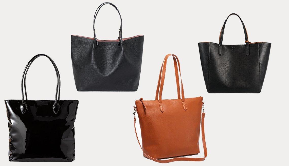 (izq. a dcha.): Women Enamel Tote Bag de Ines de la Fressange de Uniqlo, Shopper de H&M, Faux-Leather Zip-Top Tote for Women de Old Navy, Reversible Tote Handbag de A New Day.