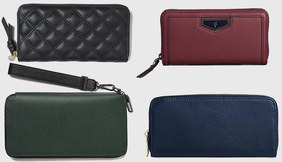 item 6 of Gallery image - (en sentido horario):  Large Wallet de H & M, Signature Wallet de Simply Vera Wang, Faux leather Wallet with Zip Closure de A New Day, XL Embossed Dress Wallet en verde de Zara.