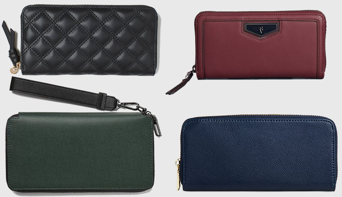 item 7 of Gallery image - (Clockwise): H & M Large Wallet, Simply Vera Wang Signature Wallet, A New Day  Faux leather Wallet with Zip Closure, Zara XL Embossed Dress Wallet in Green