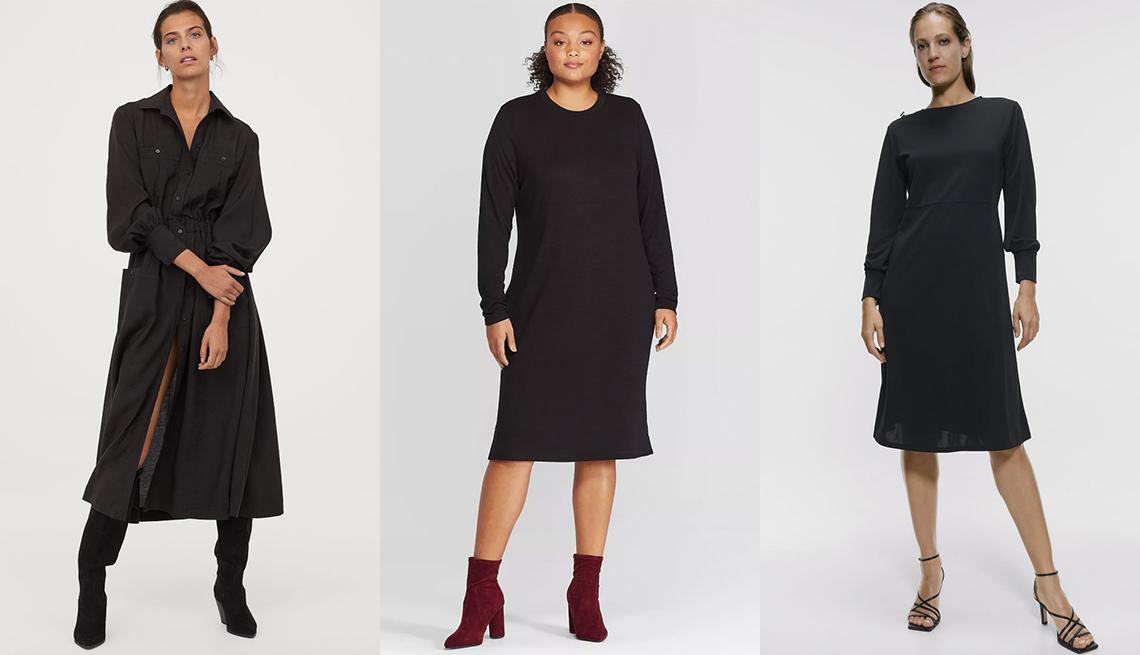item 9 of Gallery image - Vestido camisero hasta la pantorrilla, de H&M; vestido a media pierna de manga larga con cuello redondo, disponible en tallas grandes, de Prologue; vestido con botones, de Zara.
