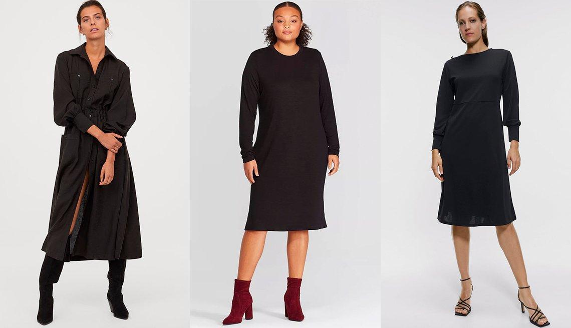 item 9, Gallery image. Vestido camisero hasta la pantorrilla, de H&M; vestido a media pierna de manga larga con cuello redondo, disponible en tallas grandes, de Prologue; vestido con botones, de Zara.