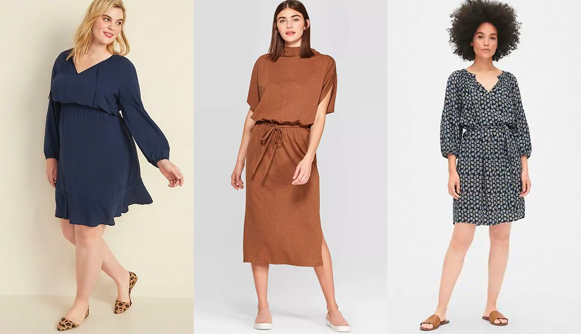 item 11, Gallery image. Old Navy Waist Defined Tie-Neck Plus-Size Dress, Prologue Batwing Short Sleeve Turtleneck A-Line Midi Dress, Gap Print Peasant Sleeve Smock Dress