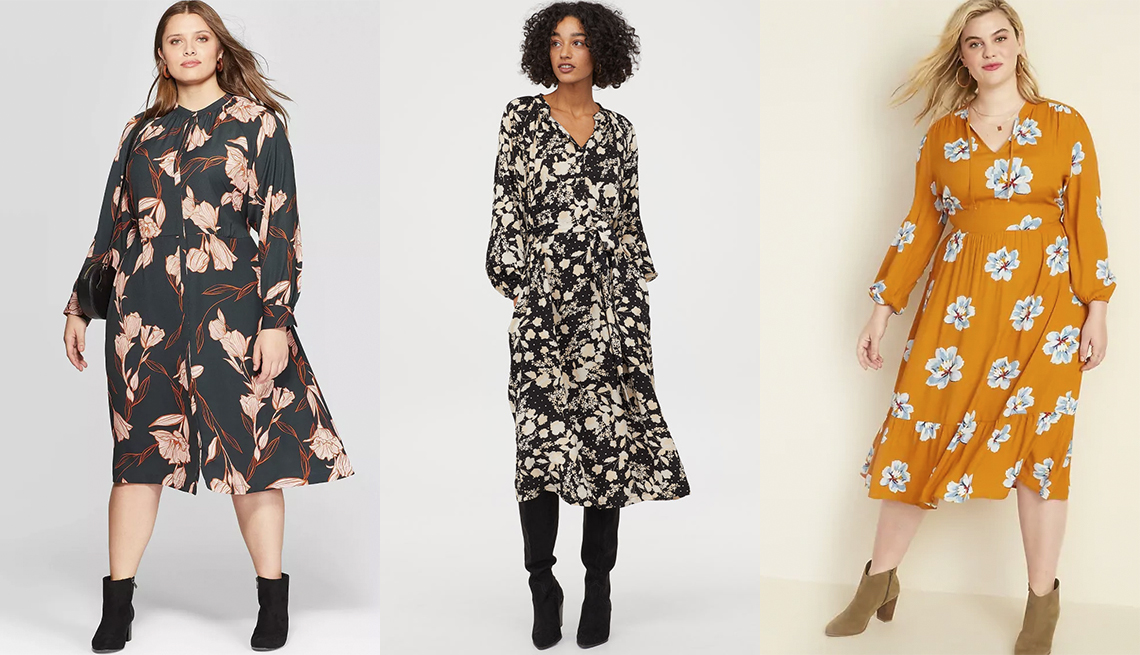 item 8 of Gallery image - A New Day Women's Plus-Size Floral Print Long Sleeve V-Neck Midi Shirtdress, H & M Dress With Tie Belt, Old Navy Waist-Defined Floral-Print Tie-Neck Plus-Size Midi