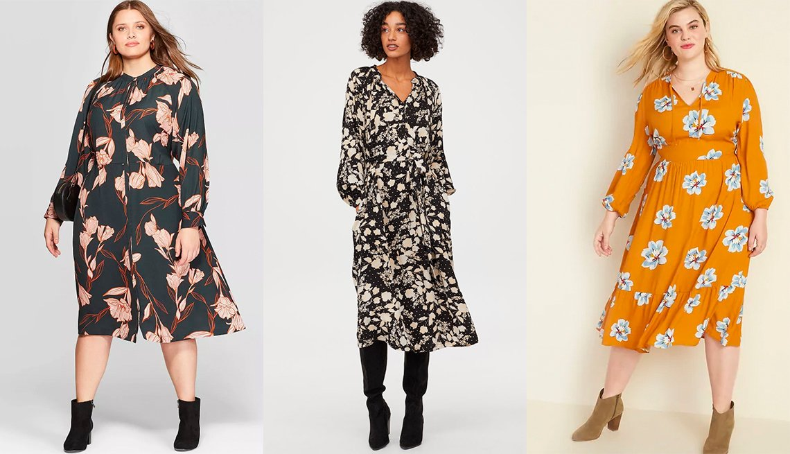 item 8, Gallery image. A New Day Women's Plus-Size Floral Print Long Sleeve V-Neck Midi Shirtdress, H & M Dress With Tie Belt, Old Navy Waist-Defined Floral-Print Tie-Neck Plus-Size Midi