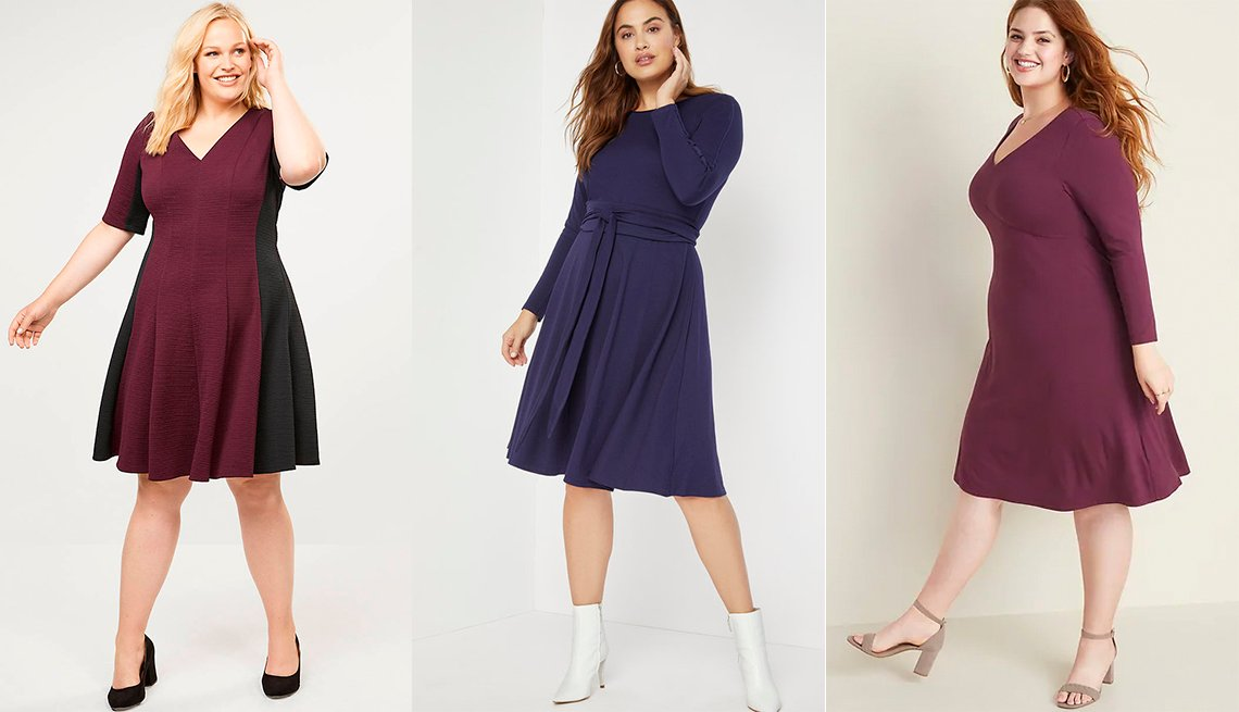 Lane Bryant Colorblock Textured Fit and Flare Dress,  Eloquii Long Sleeve Fit and Flare Dress, Old Navy Jersey V-Neck Plus-Size Fit and Flare Dress