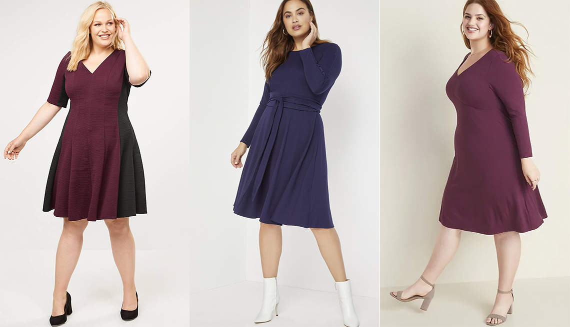 item 3 of Gallery image - Lane Bryant Colorblock Textured Fit and Flare Dress,  Eloquii Long Sleeve Fit and Flare Dress, Old Navy Jersey V-Neck Plus-Size Fit and Flare Dress