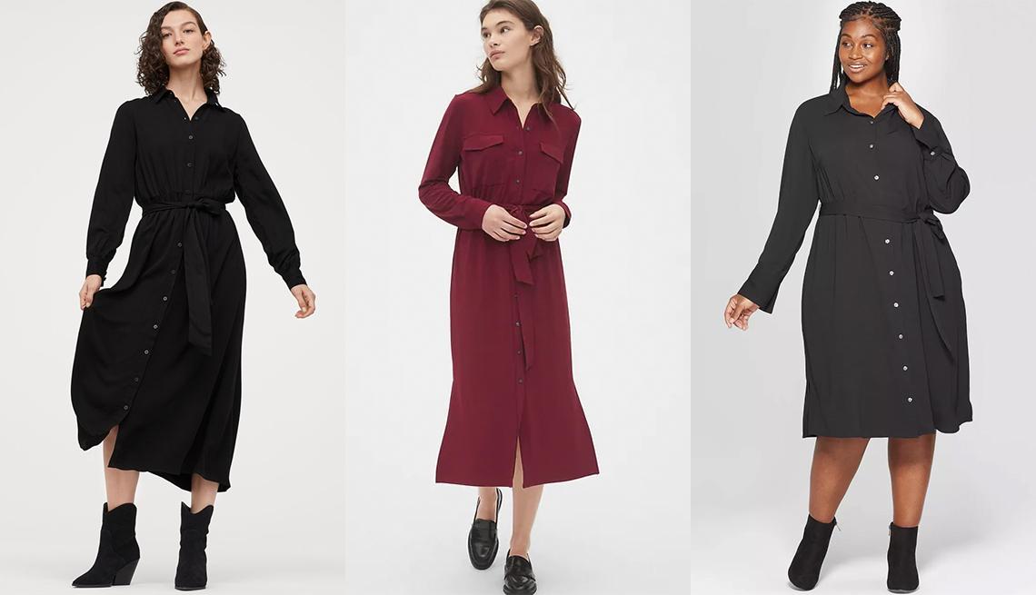 item 2 of Gallery image - Vestido camisero con cinturón de nudo, de H&M; vestido camisero de punto a media pierna, de Gap; vestido camisero negro con cuello y manga larga, en tallas grandes, de Ava & Viv.