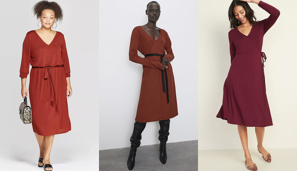 item 1 of Gallery image - Ava & Viv Plus-Size 3/4 Sleeve V- Neck Sandwash Knit Midi Dress,  Zara Woman Belted Dress, Old Navy Waist-Defined Faux Wrap Jersey Midi
