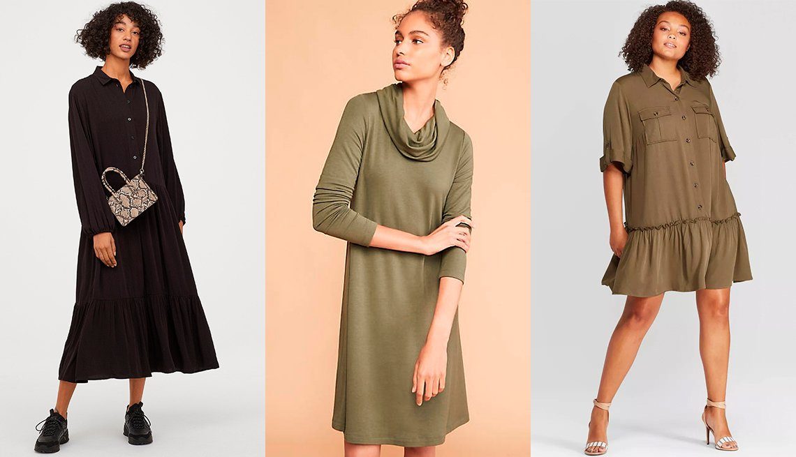item 7, Gallery image. H & M Wide-cut Dress, Loft Lou & Grey Signature Softblend Lite Cowl Swing Dress, Who What Wear Women's Plus-ize Short-Sleeve Collared Mini A-Line Dress in Green