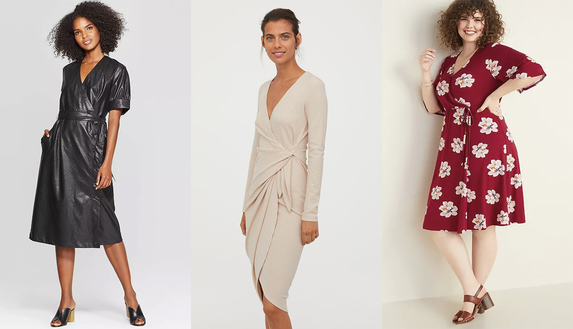 item 9 of Gallery image - Who What Wear Women's Short Sleeve V-neck Wrap Front A-Line Midi Dress, H & M V-Neck Wrap Dress, Old Navy Fit and Flare Faux-Wrap Plus-Size Dress