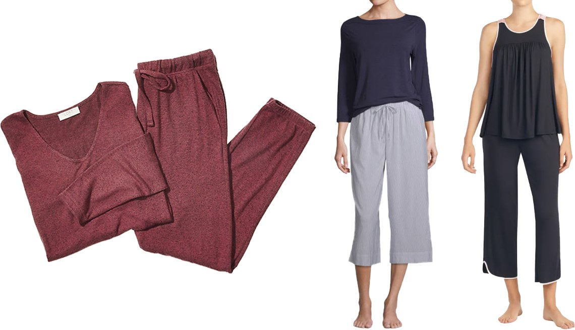 item 2, Gallery image. (Left to right) Loft Cozy Pajama Set in plum jam; Liz Claiborne Women's Pant Pajama Set 2-pc, 3/4 Sleeve in peacoat stripe; Kate Spade New York Crop Jersey Pajamas in black