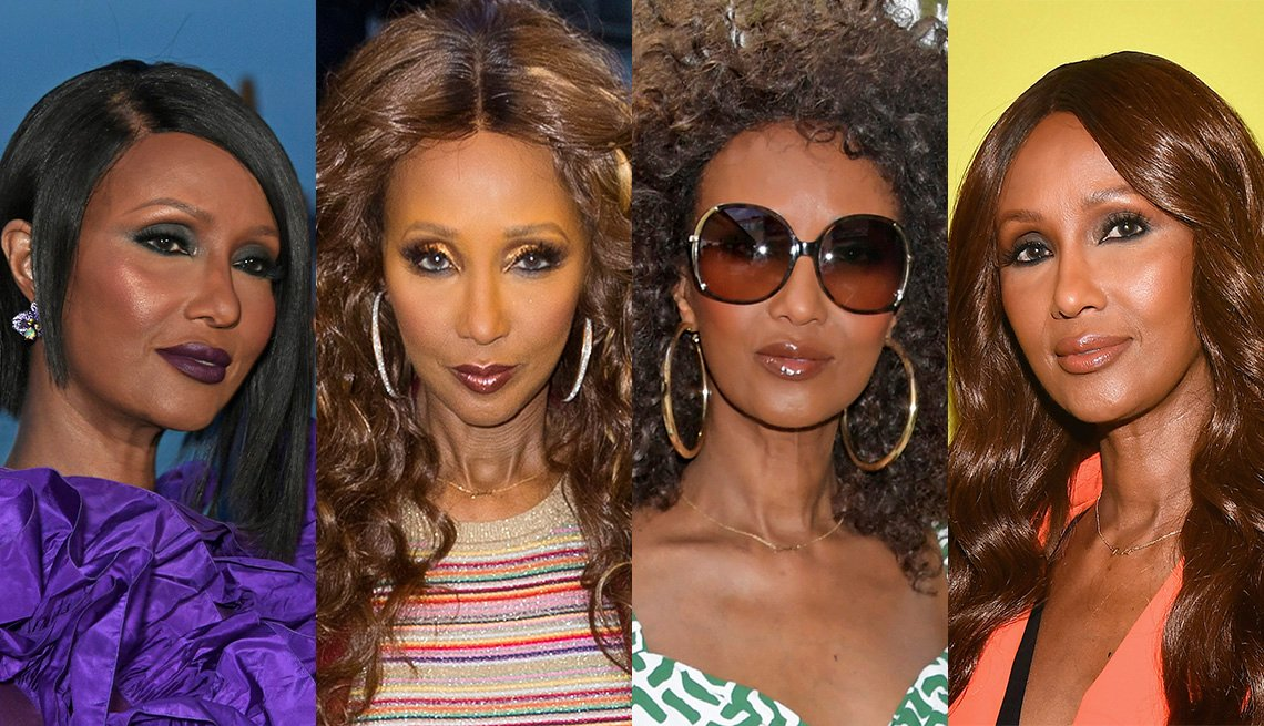 item 4, Gallery image. The ever-changing hairstyles of Iman.