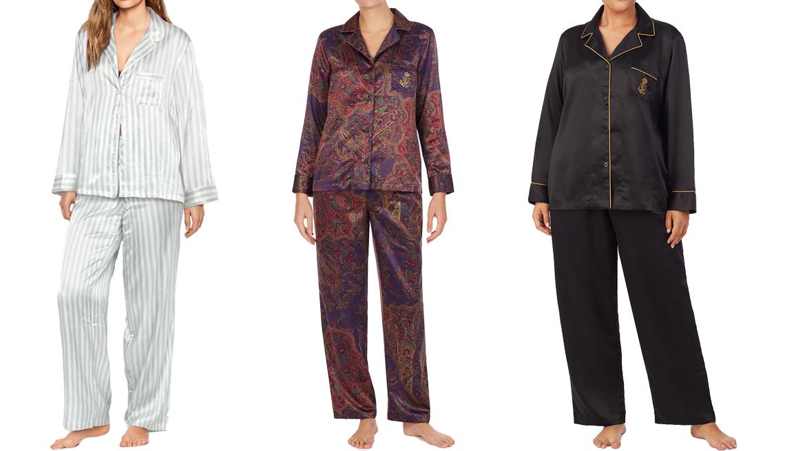 item 6 of Gallery image - Victoria's Secret Satin Long PJ Set; Lauren Ralph Lauren Luxurious Satin Pajama Set in multpais; Lauren Ralph Lauren Plus Size Luxurious Satin Pajama Set in black