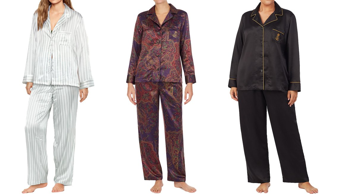 item 6, Gallery image. (Left to right) Victoria's Secret Satin Long PJ Set; Lauren Ralph Lauren Luxurious Satin Pajama Set in multpais; Lauren Ralph Lauren Plus Size Luxurious Satin Pajama Set in black