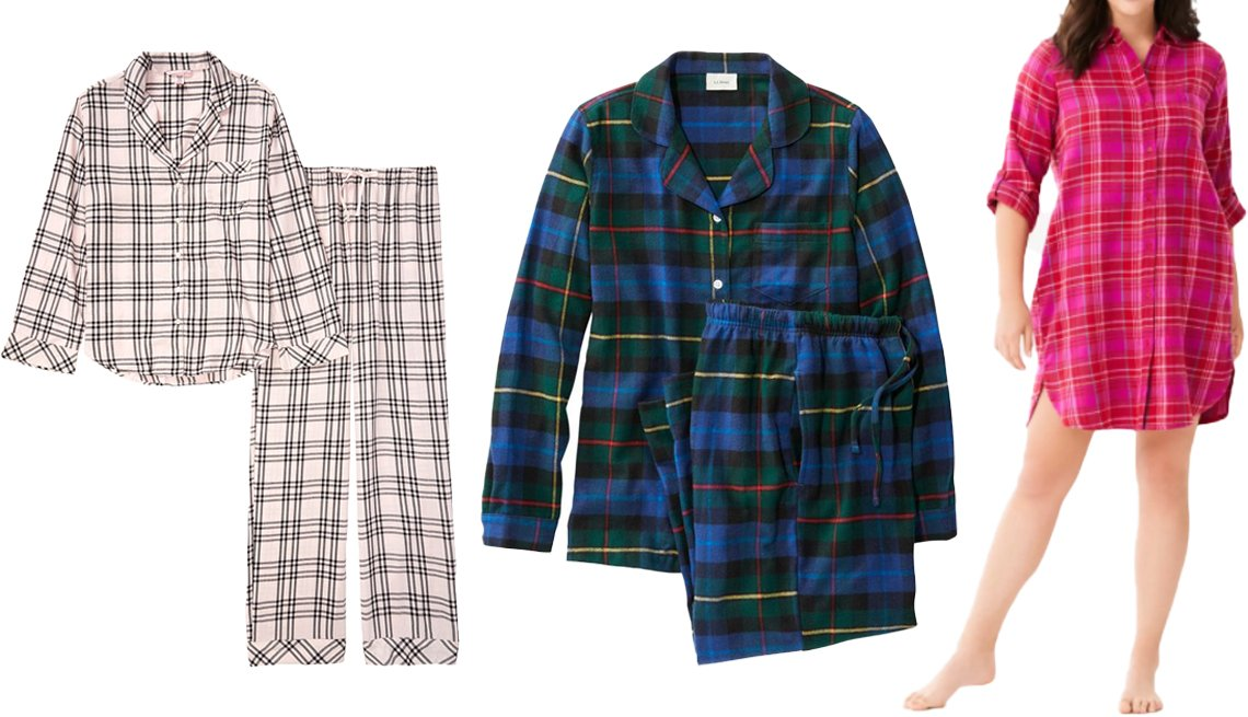item 10, Gallery image. (Left to right) Victoria's Secret Cotton Flannel Long PJ Set in pink/black check; L.L. Bean Women's Scotch Plaid Flannel Pajamas in smith; Dreams & Co. Sleepshirt in Plaid Flannel with Button Front in classic red plaid