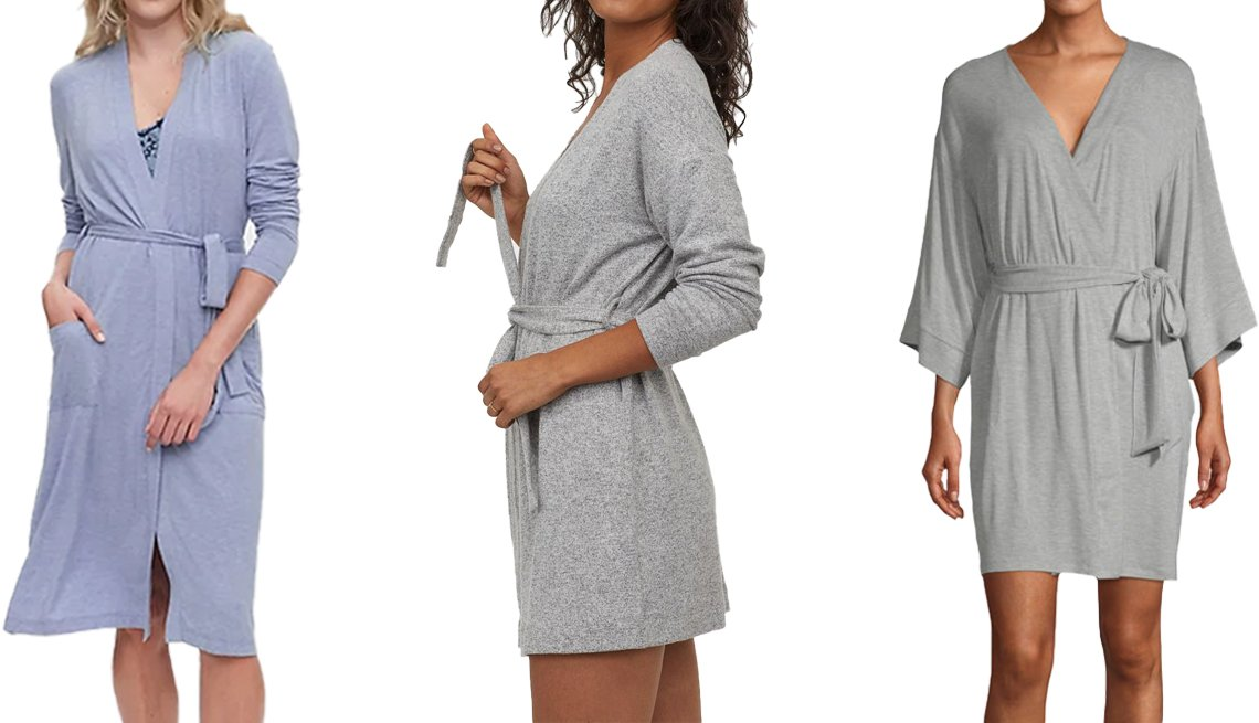 item 5, Gallery image. (Left to right) Gap Robe in Modal in light blue heather; H&M Jersey Bathrobe in light gray melange; Ambrielle Women's Kimono Robe in heather grey