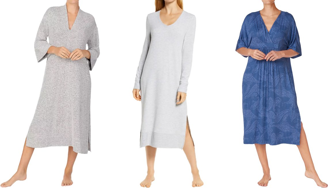 item 4, Gallery image. (Left to right) Donna Karan Side Slit Sleep Caftan in gray heather; Papinelle Feather Soft Nightgown in grey; Lauren Ralph Lauren Printed Caftan Nightgown in blue/novel