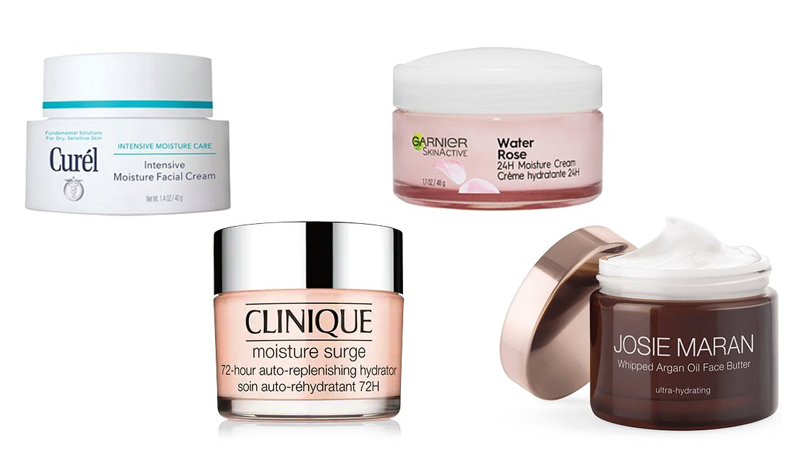 Curél Intensive Moisture Facial Cream, Clinique Moisture Surge 72-Hour  Auto-Replenishing Hydrator, Gariner SkinActive Water Rose 24H Moisture Cream, Josie Maran Whipped Argan Oil Face Butter
