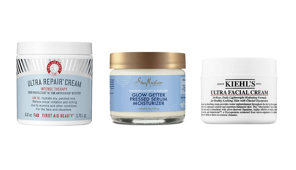 item 8 of Gallery image - First Aid Beauty Ultra Repair Cream, SheaMoisture Manuka Honey & Yogurt Healthy Glow Pressed Serum Moisturizer, Kiehl's Since 1851 Ultra Facial Cream