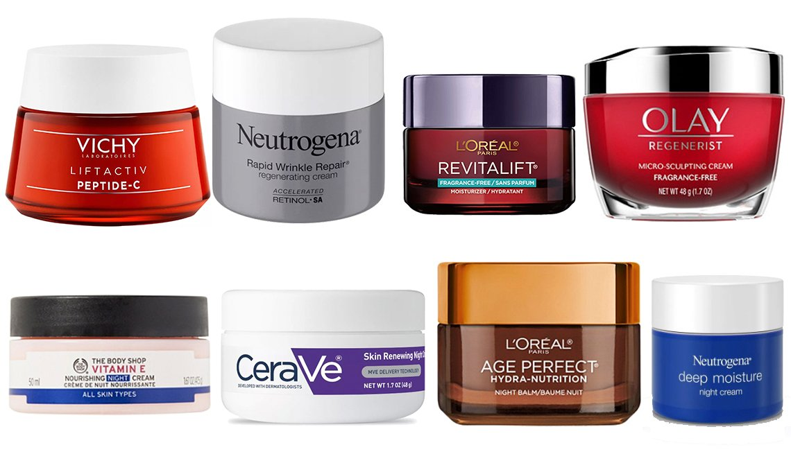 item 4, Gallery image. Vichy LiftActiv Moisturizer, Neutrogena Rapid Wrinkle, L' Oreal Paris Revitalift, Olay Regenerist Cream, The Body Shop Vitamin E Night Cream, CeraVe Skin Renewing Night Cream, L' Oreal Age Perfect Hydra Nutrition, Neutrogena Deep Moisture Night Cream