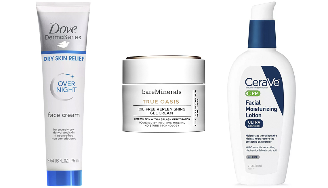 item 8 of Gallery image - Dove DermaSeries Overnight Face Cream, BareMinerals True Oasis Oil-Free Replenishing Gel-Cream, CeraVe PM Facial Moisturizing Lotion Ultra Lightweight