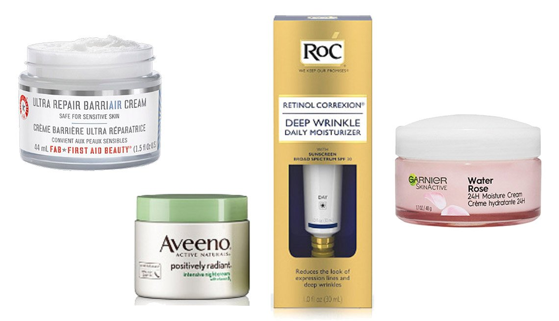 item 2 of Gallery image - First Aid Beauty Ultra Repair Cream, Aveeno Positively Radiant Night Cream, RoC Retinol Correxion Deep Wrinkle Daily Moisturizer, Garnier SkinActive Water Rose 24H Moisture Cream.