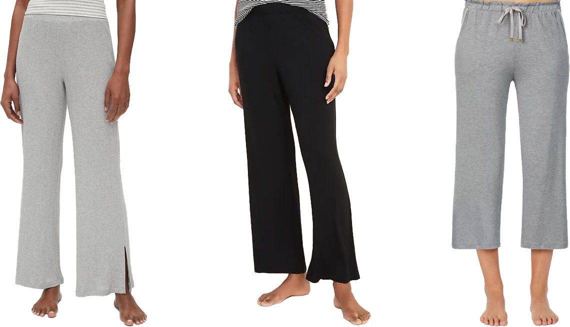 item 7, Gallery image. (Left to right) Gap Ribbed Pants in Modal in heather grey; Old Navy Straight Jersey-Knit Pajama Pants for Women in black jack; Kate Spade New York Cropped Pajama Pants in gray heather