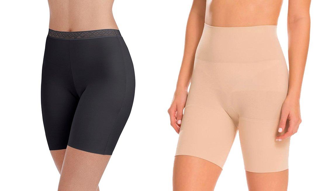item 2, Gallery image. Pantalones cortos deslizables de Radiant by Vanity Fair con borde invisible y tejido suave; prenda modeladora estilo Remarkable Results, de Assets by Spanx, con largo a mitad del muslo.