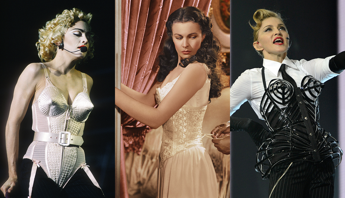 item 3 of Gallery image - Madonna durante su gira Blonde Ambition, Vivien Leigh en 'Gone with the Wind' y Madonna durante una presentación en su gira MDNA.