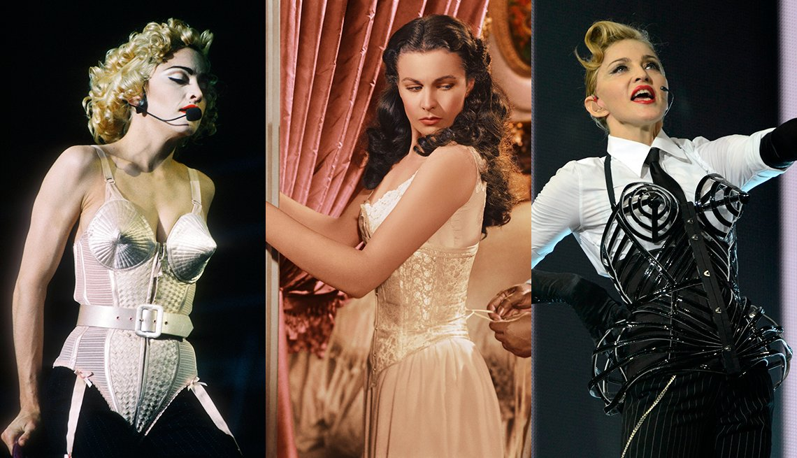 item 3, Gallery image. Madonna durante su gira Blonde Ambition, Vivien Leigh en 'Gone with the Wind' y Madonna durante una presentación en su gira MDNA.