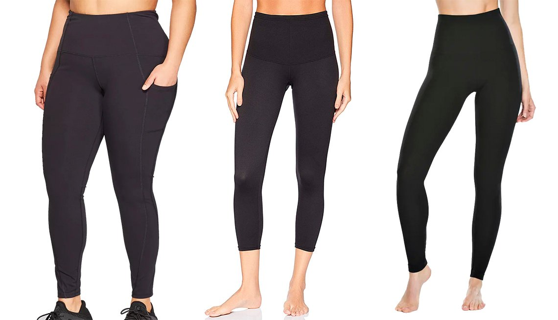 item 7, Gallery image. Leggings Black Women's Urban Mid Rise Leggings de tamaño grande, de Champion; Flexees Women's Shapewear Leggings, de Maidenform; y Ponte Leggings, de Red Hot by Spanx.