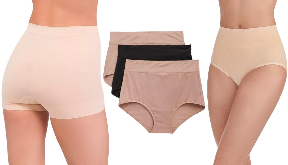 item 9, Gallery image. Moldeadores cortos Women's All Around Smoothers Seamless Shaping Girl Shorts, de Assets by Spanx; Blissful Benefits No Muffin Top Brief Panties, de Warner's, en paquete de 3; y Women's Seamless Smoothing Brief Panty en paquete de 2, de Radiant by Vanity Fair.