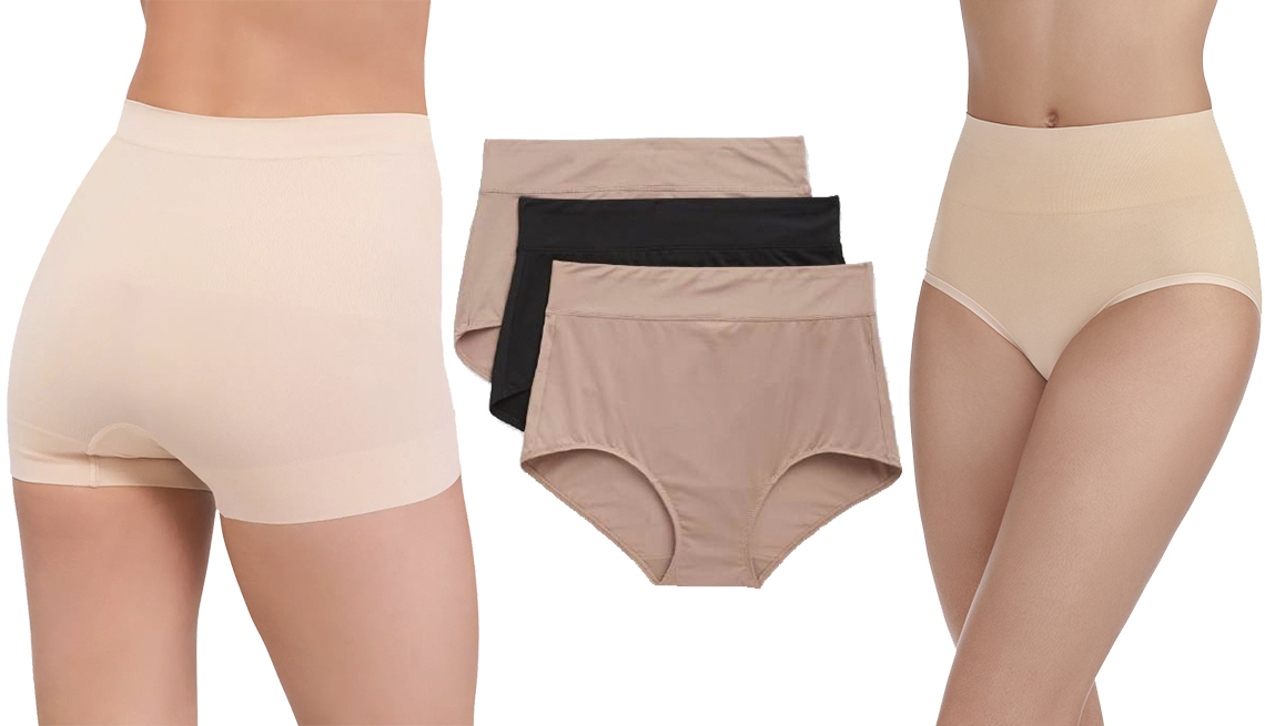 item 10 of Gallery image - Assets by Spanx Women's All Around Smoothers Seamless Shaping Girl Shorts, Blissful Benefits by Warner's No Muffin Top Brief Panties 3 pk, Radiant by Vanity Fair Women's 2-Pack Seamless Smoothing Brief Panty