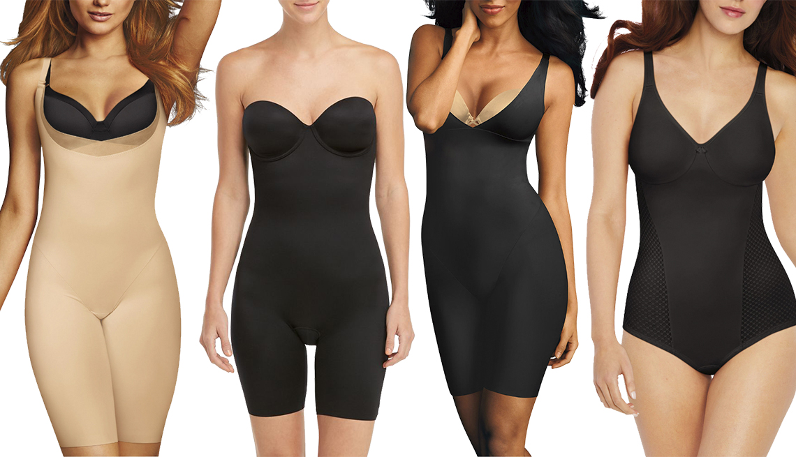 item 11 of Gallery image - Maidenform Skin Spa Wear Your Own Bra Extra Firm Control Body Shaper, Spanx Suit Your Fancy Strapless Cupped Mid-Thigh Bodysuit, Maidenform Sleek Smoothers Wear Your Own Bra Firm Control Thigh Slimmers, Bali Passion For Comfort Minimizer Firm Control Body