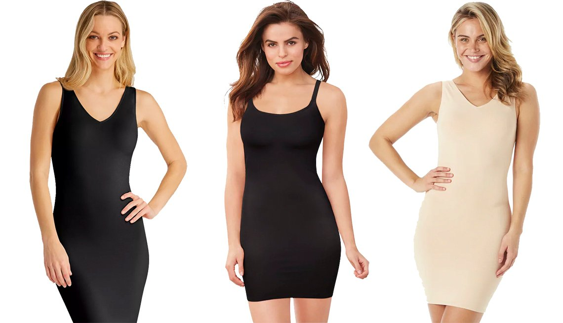 item 8, Gallery image. Vestidos faja Women's Shaping Tank Slip, de Assets by Spanx; Women's Cover Your Bases Smoothing Slip, de Maidenform; y Sleek Slimmers Tank Slip 2 en 1 con cuello reversible, de Red Hot by Spanx.